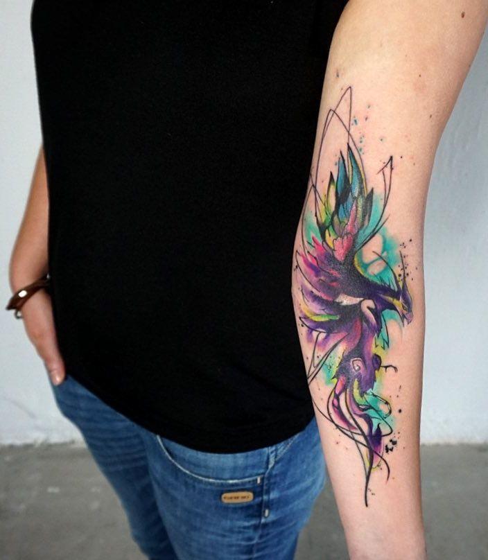 Watercolor Phoenix Tattoo C Tattoo Artist Lausbub Tattoo Kollektiv Pheonix Tattoo Feather Tattoos Small Phoenix Tattoos