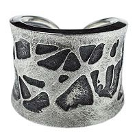 Sterling silver band ring, 'Pollock Inspiration'