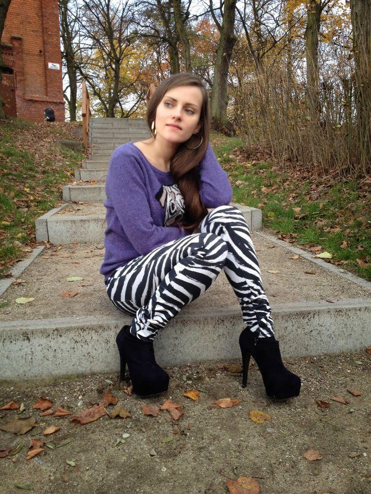 Spodnie w zebrę i sweterek z psem
