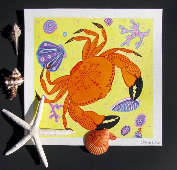 Pittura, acquerello arte originale, creatura del mare, spiaggia, illustrazione nautica, giallo, arancione, Oggettistica per la casa, arte della parete, idee regalo di granchio