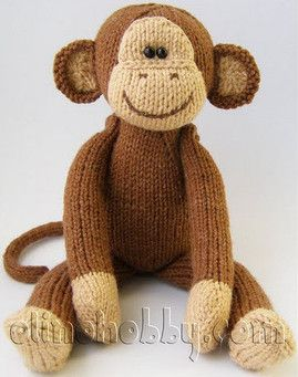 "Knitted monkey.   ...    OP said ""but I like his face for a crochet one"""