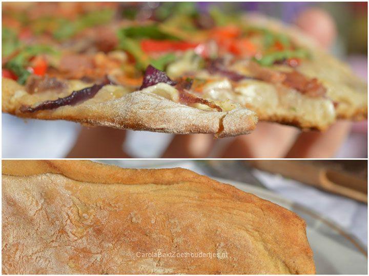 Flammkuchen zonder kneden van de barbecue, heerlijk als lunch!  No knead flammkuchen from bbq. 365 days a year a good idea.