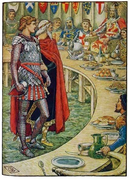"""""""SIR GALAHAD IS BROUGHT TO THE COURT OF KING ARTHUR"""" King Arthur's Knights, by Henry Gilbert, Illustrated by Walter Crane"""