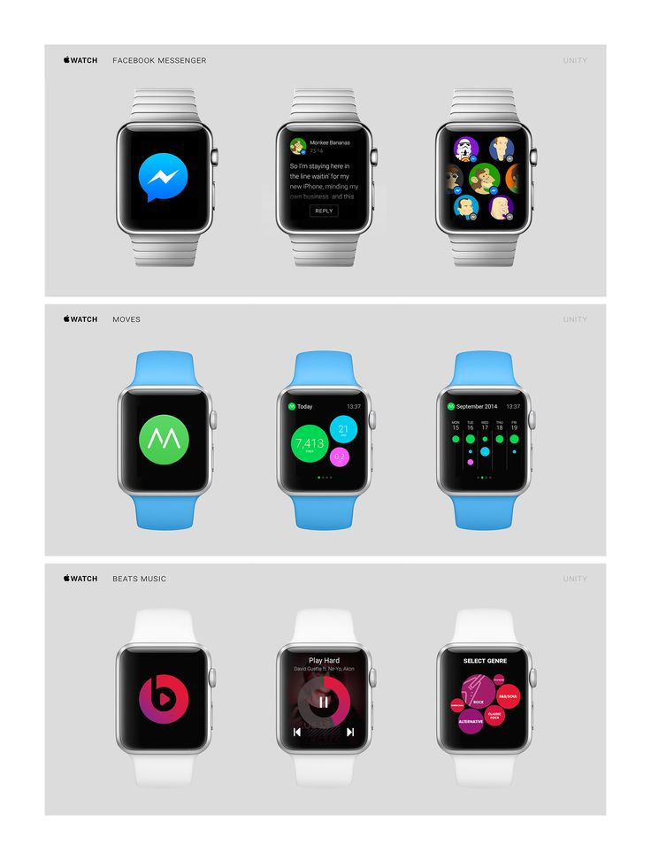 Apple Watch: Concepts: Facebook Messenger, Moves, Beats Music / Ante Matijaca