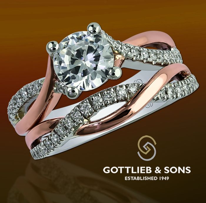 Just #SayYes to this beautiful White and Rose Gold Diamond Engagement set. This #engagement ring features a stunning round #diamond with two-tone pink and white gold twisted shoulders with shared prong set diamonds. Visit your local #GottliebandSons retailer and ask for style number 29556. http://www.gottlieb-sons.com/bridal/engagement-rings/29556