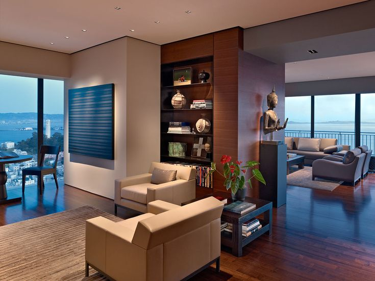 Luxurious Living Room In A High Rise Apartment With