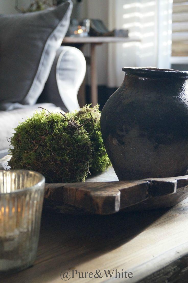 Stenen kruiken landelijke potten oud en nieuw rustic jars - Interieur decoratie stenen huis ...