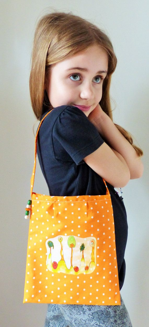 Bag for children. Fabric pouch for girl. Colorful by RossoViola, €13.00