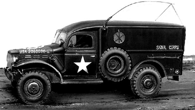 #WC54 Dodge WC54 3/4-ton field ambulance converted for use by the US Army Signal Corps; conversions of this type were not unique but they were rare