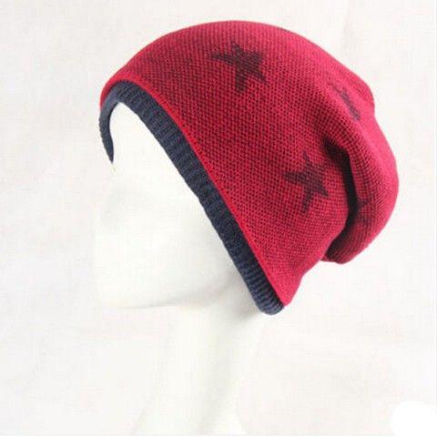 Outdoor star fleece beanie hat for men warm knit winter hats