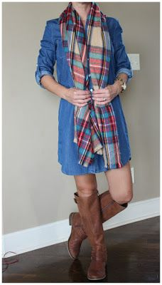 Denim dress styled with a plaid scarf and knee high brown boots - the perfect fall outfit! Get the look for less at www.wearitforless.com