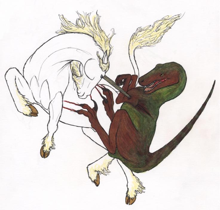 Unicorn versus Velociraptor.