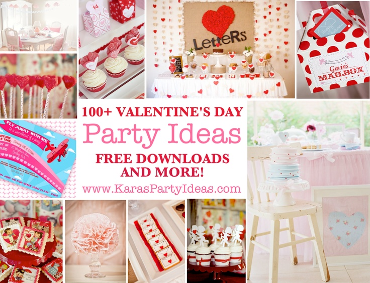 100+ Valentines Day Party Ideas. Free downloads & more! karaspartyideas.com #valentines #party #ideas #free