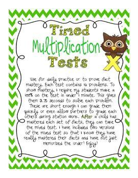 Timed Multiplication Test Practice - Kickin' it With Class - TeachersPayTeachers.com