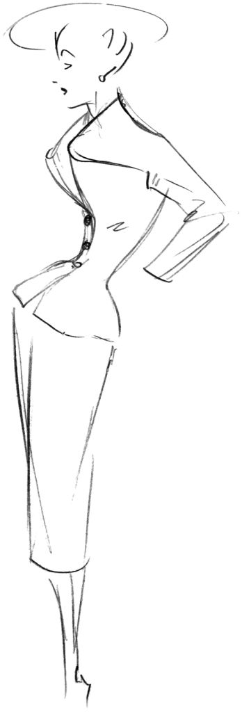 Sketch of the 'Les Lilas' model, Spring/Summer 1947 collection. Discover more on www.dior.com