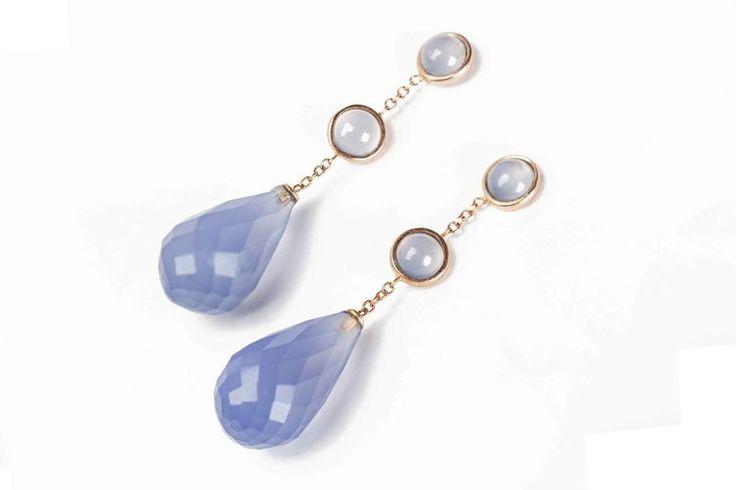 Blue Chalcedony Drops Earrings di FedericaQuaglia su Etsy