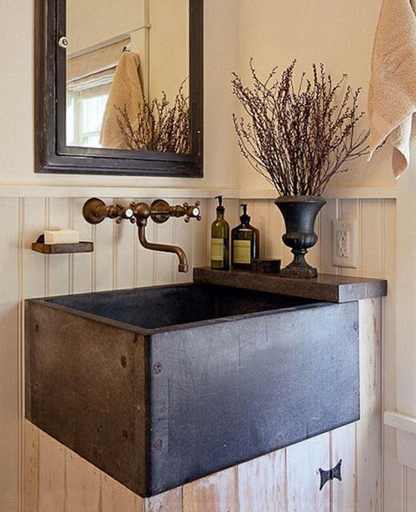 rustikale Badezimmer waschbecken schwarz spiegel idee