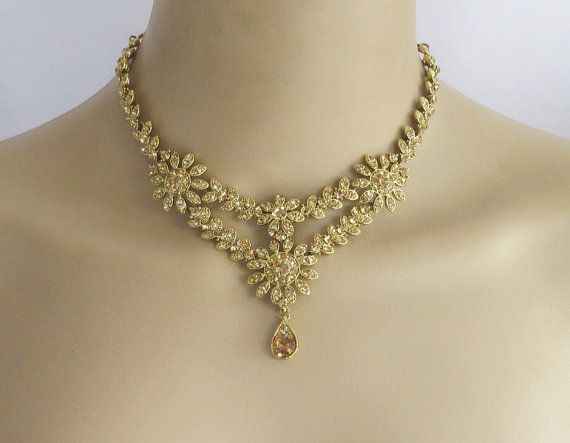 Antique Gold Bridal Wedding Necklace Jewelry Set by Beauteshoppe