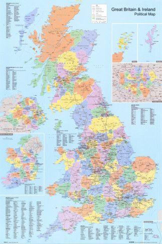Mapa político do Reino Unido Pôsters na AllPosters.com.br