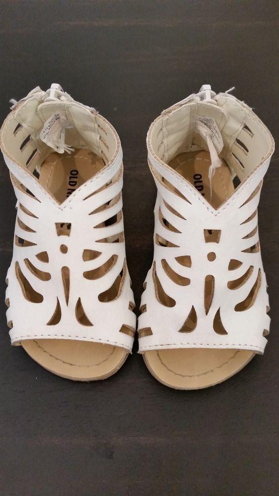 Euc Old Navy Baby Toddler Girl White Gladiator Sandals