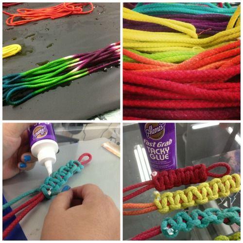 iLoveToCreate Blog: Tie-Dye Macrame Bracelets....tie dying and braclet/key chain making in one!!