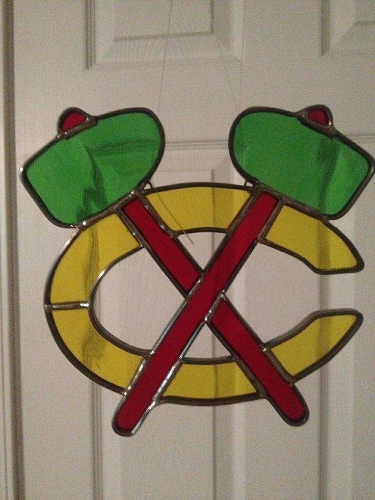 Blackhawks stained glass tomahawks