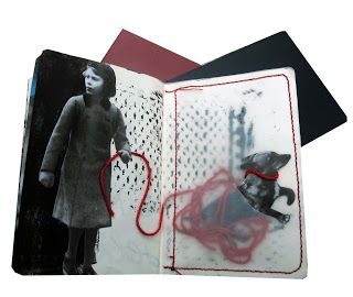 Art Sketchbook with mixed media pages; creative collage; art portfolio ideas // Inge Nouws