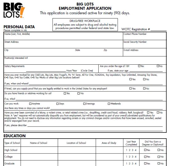 Big Lots Job Application Form