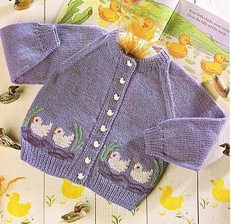 Foto patos patrón de vendimia tejer cardigan bebé por Ellisadine