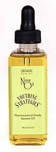 Nose Oil (Pharmaceutical Grade Sesame Oil) by Youthing Strategies. $12.00. The oil is naturally anti-inflammatory, antiviral, anti-fungal and antibacterial for both streptococcus and staphylococcus.  Ayurveda physicians have used sesame oil to successfully treat and relieve symptoms of sinusitis. Air travelers have used our Nose Oil to protect against upper respiratory bacterial infection.