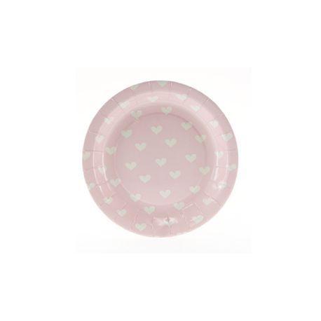 Assiettes roses à coeurs pour un anniversaire sur le thème des ballerines. D'autres idées déco, vaisselle et accessoires sur www.rosecaramelle.fr #ballerine #deco #fete #anniversaire #birthday #tutus #pompons #kids #enfants #party #fete #ballerina #decoration