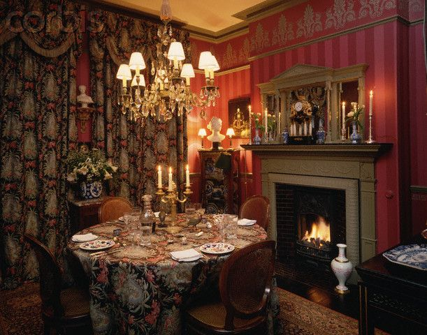 Luxury Victorian Dining Rooms With Fireplaces Design And Elegant Wallpaper  Room Round Dining Room Table With