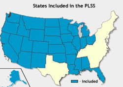 Map of states included in the Public Land Survey System : more official PLSS site