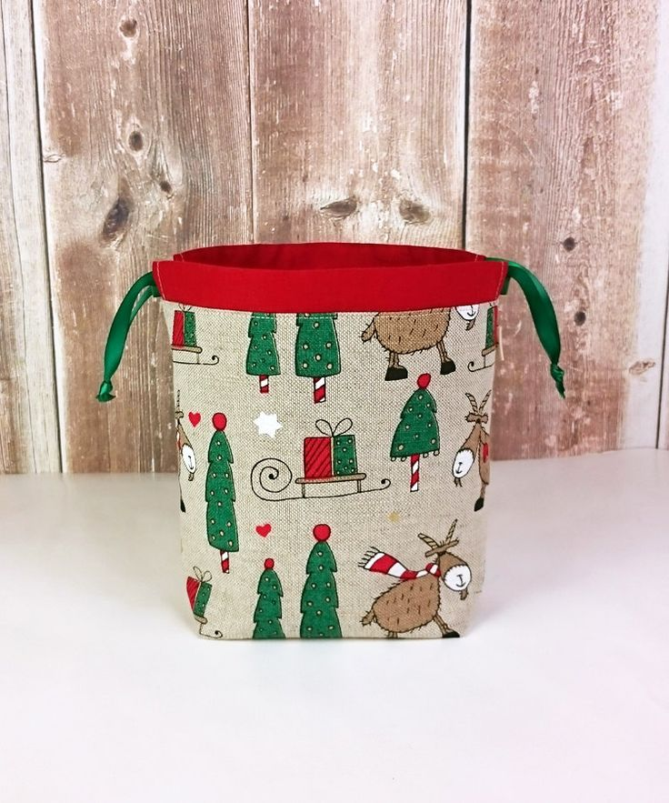 Christmas Print Linen Knitting Bag, Sock Knitting Bag, Knitting Tote, Sock Project Bag for two at a time sock knitting - Small Socksack by MyNeedleCrafts on Etsy