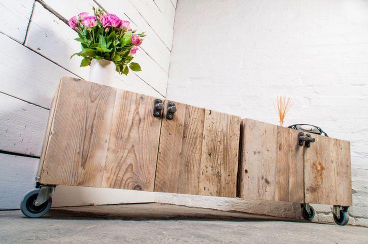 Josh Long Low 4 Door Reclaimed Scaffolding Board Media Unit with Steel Handles - bespoke made to measure furniture by www.inspiritdeco.com by inspiritdeco on Etsy https://www.etsy.com/listing/211300024/josh-long-low-4-door-reclaimed
