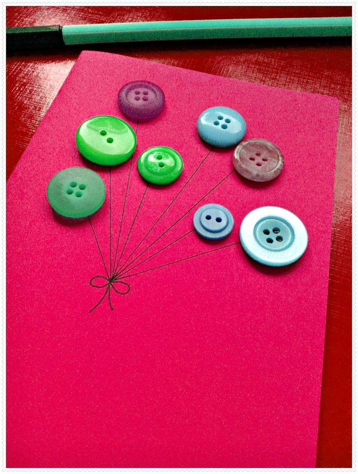 .: Geburtstagskarte mit Knöpfen gestalten