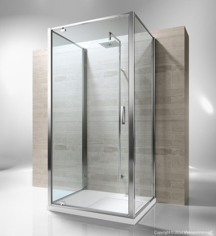 Framed 3 sided shower enclosure with pivoting door. Reversible and extensible of 3 cm for each element of composition . Junior GF+GA+GF is incredibly versatile and suitable to solve multiple installation situations. Shower enclosures Junior by @vismaravetro | GF+GA+GF