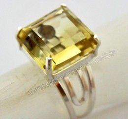 Anel Prata 950 Pedra Especial Citrino Montado em Prata de Lei Ajustavel Cod 32.1