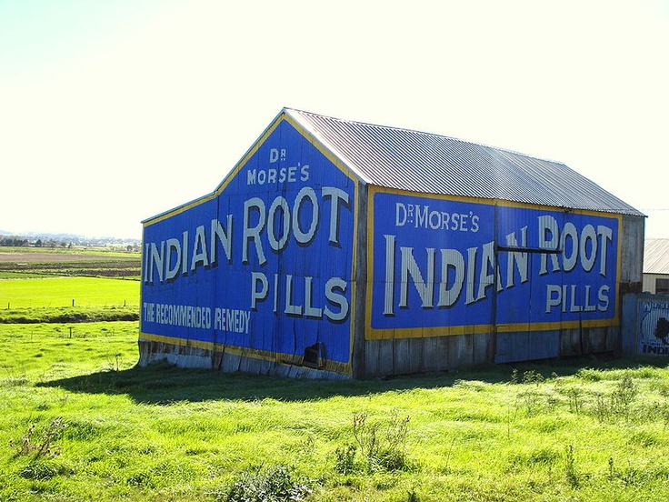 Old barn near Morpeth bears the advertising for an old pharmacy product. I drive past this all the time.