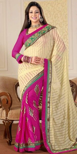 Glamerous Cream And Pink Georgette Saree With Blouse.