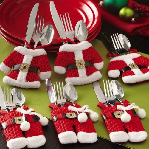 6Pcs #Santa Silverware Pockets great addition to boost up your #holiday spirit!