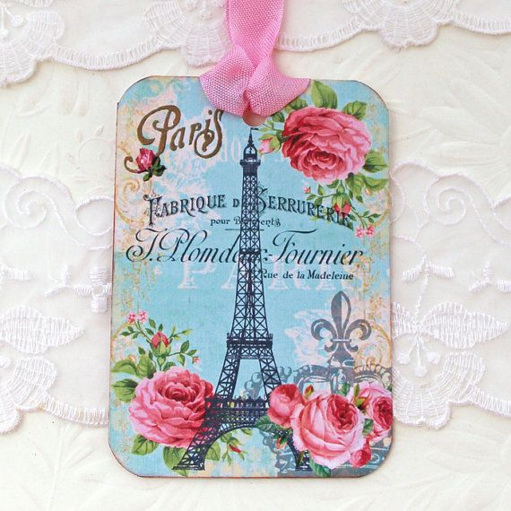 French Paris Tags Eiffel Tower Gift Hang by EnchantedQuilling