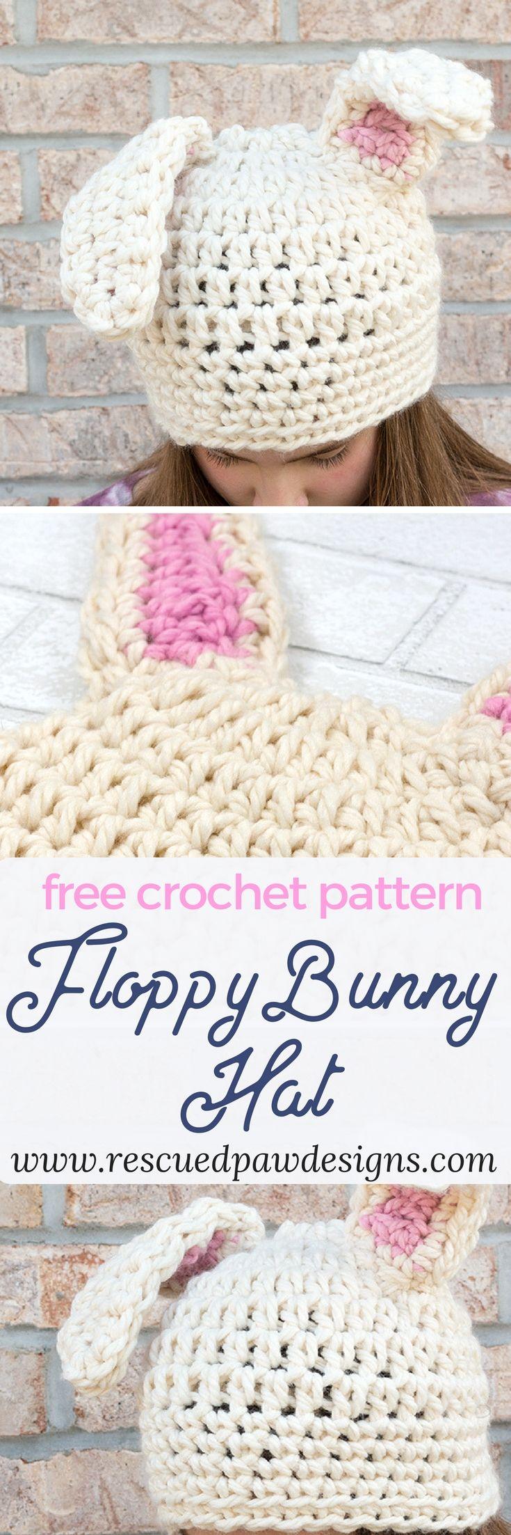 Floppy Bunny Ears Crochet Hat #crochet #crochetears #crochetbunny #freecrochetpattern www.rescuedpawdesigns.com