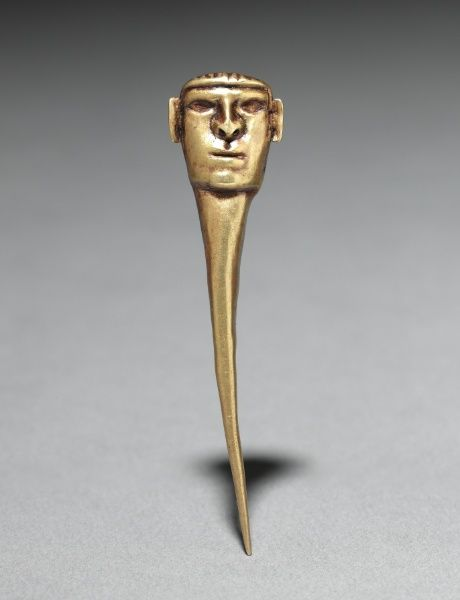 Pin Ornament, c. 500-200 BC Peru, North Highlands, Chavín de Huantar(?), Chavín style (1000-200 BC) hammered and cut gold, Overall - l:7.20 ...