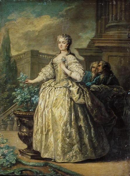 Portrait of Maria Leszczynska (1703-68) 1747 (oil on card) by Carle van Loo.
