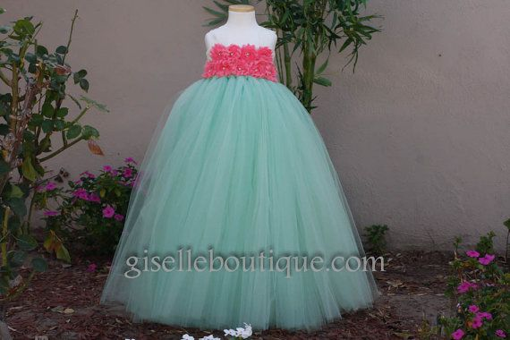 Flower girl dress Mint and Coral Tutu Dress by giselleboutique