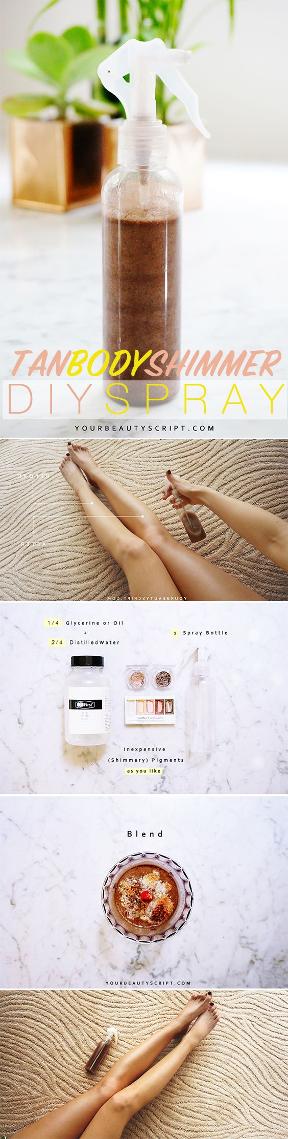 An easy DIY on how to make a tan shimmer spray / YOSUNE+ @PINTEREST