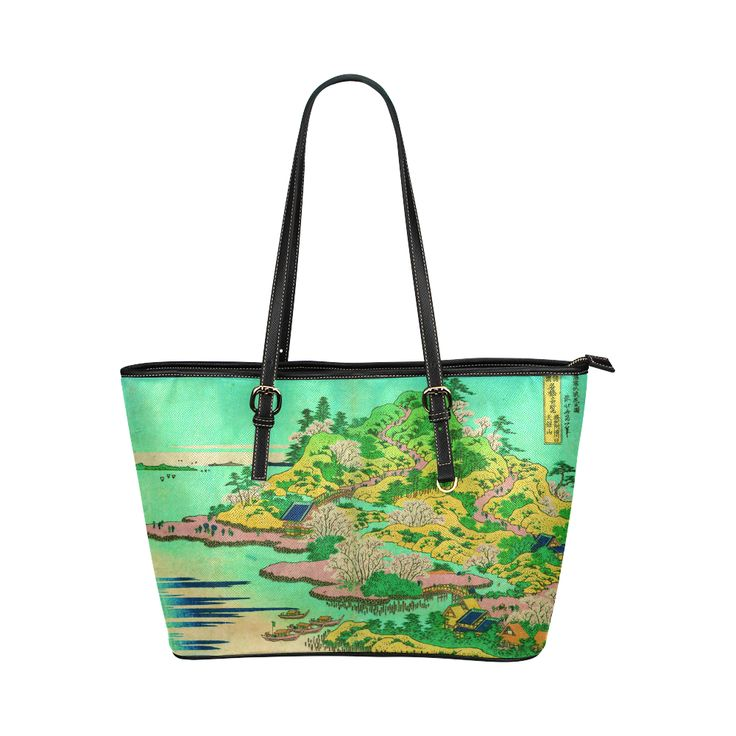 Hokusai Mount Tempo Setchu Landscape Leather Tote Bag/Large (Model 1651)