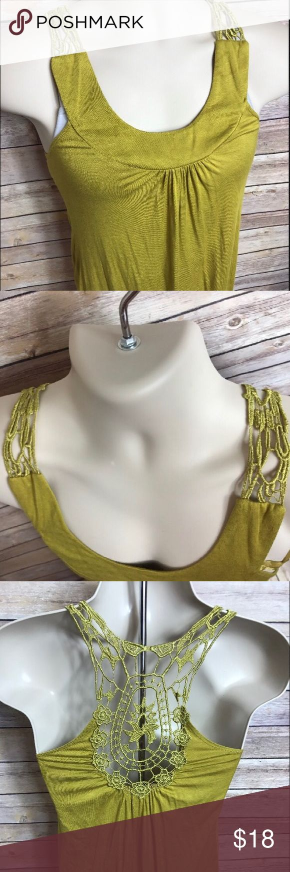 """Charlotte Russe Womans SM Yellow Tank Top Blouse Up for sale is a Charlotte Russe Womans size Small open back tank top blouse. This item doesn't have any flaws! (Meaning it's stain, rip, and heavy wear free!) Wear it with your favorite jeans, or under a blazer at the office - either way, this tank would be a perfect addition to your wardrobe. 💛 Measurements:  Pit to Pit: 14""""  Length: 28"""" Charlotte Russe Tops Tank Tops"""