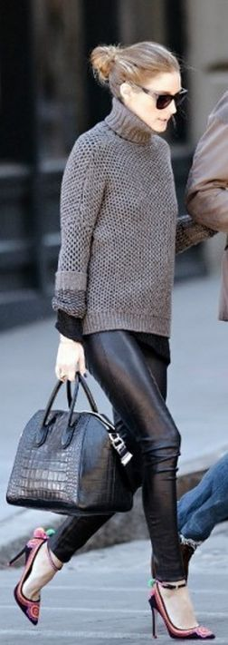 Leather pants with sweater DAMN > those shoes are the punch line